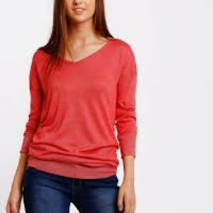 American Eagle Dolman Sleeve Red Sparkle Knit Top